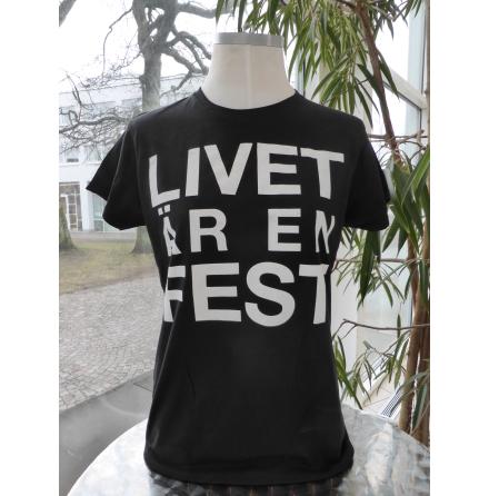 """Svart damtopp """"Livet är en fest"""""""