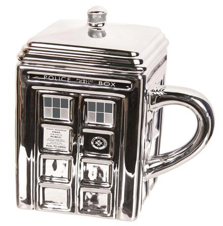 Doctor Who Silver Ceramic Tardis Mug with Lid