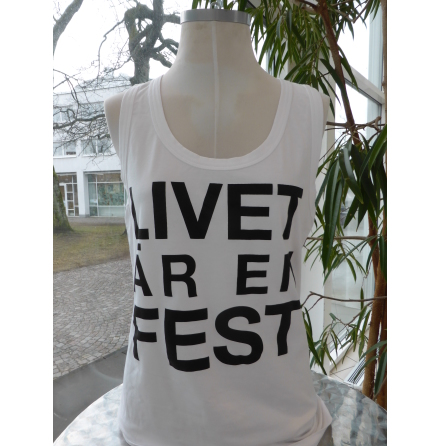 """Vitt damlinne """"Livet är en fest"""""""